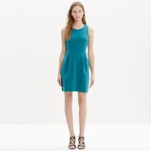 Madewell Summer teal verse fit flare pleated dress